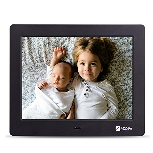 Wireless Digital Picture Photo Frame - HD 1024x768 (4:3) IPS Widescreen MP3 MP4 Video Player with Calendar/Clock/Remote Control Black (8 inch)