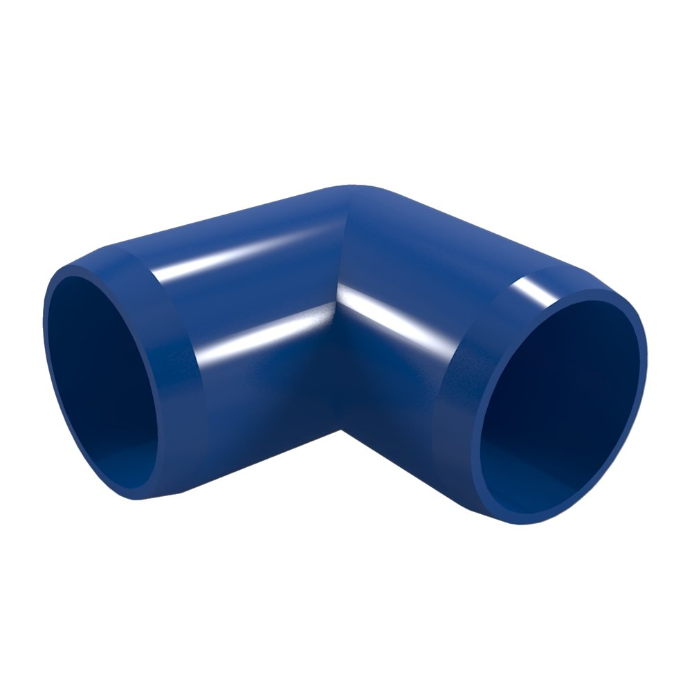 "FORMUFIT F00190E-BL-4 90 degree Elbow PVC Fitting, Furniture Grade, 1"" Size, Blue (Pack of 4)"