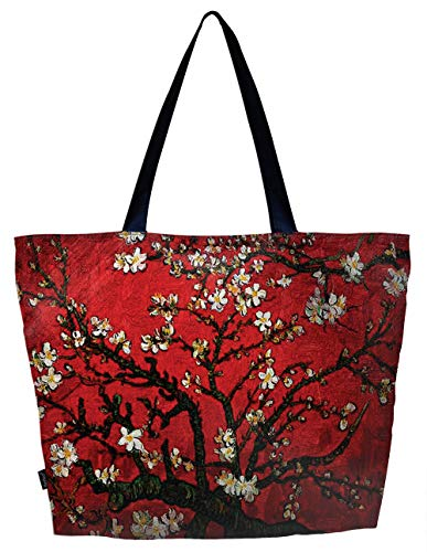 - Lightweight Travel Beach Tote Bag Foldable Reusable Shopping Shoulder Hand Bag - van Gogh Cherry Blossom, Large
