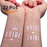 WATINC 22 pack Rose gold Bachelorette Bride and Bride Tribe Temporary Tattoos, Metallic Shiny Gold Flash, Bachelorette Party Supplies Ideas Accessories Favors