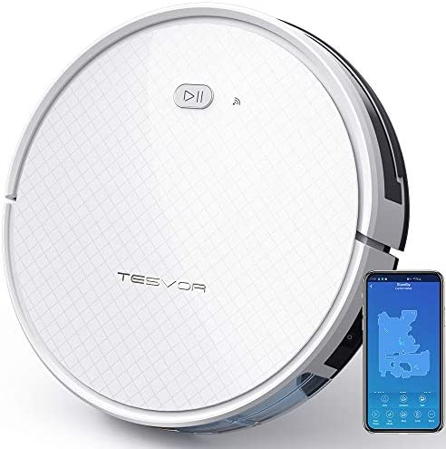 Tesvor Robot Vacuum Robotic Vacuum and Mop Cleaner 1800Pa Strong Suction WiFi Connectivity App and Alexa Voice ControlClean from Hardfloors to Low-Pile Carpets for Dust and Pet Hair.