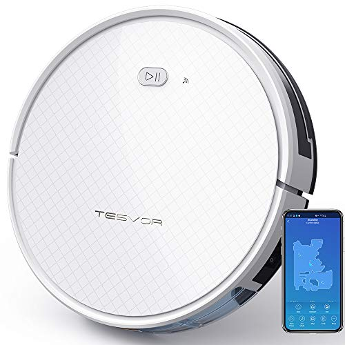 Tesvor Robot Vacuum, Robotic Vacuum and Mop Cleaner, 1800Pa Strong Suction, WiFi Connectivity, App and Alexa Voice Control,Clean from Hardfloors to Low-Pile Carpets, for Dust and Pet Hair.
