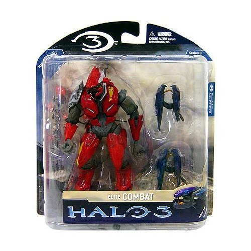 (McFarlane Toys Halo 3 Series 3 Exclusive Action Figure Red and Silver Elite Combat with Dual Plasma Rifles)