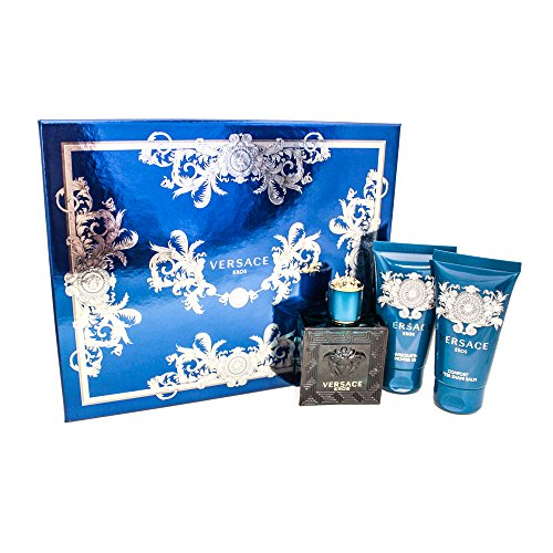 Versace Gift Set Spray (Versace EROS Gift Set for Men 1.7 oz EDT + 1.7 oz Shower Gel + 1.7 oz Aftershave Balm)