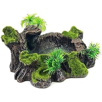 QL2020 Green Aquarium Artificial Plant-Simulated Acquatic Plants Succulents Home Ornament Reptile Terrarium Decoration for Pet Reptile Turtle Fish Tank