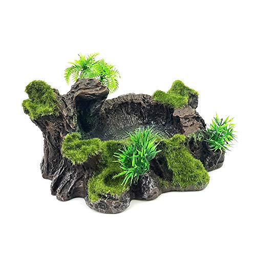 (Chnee Plastic Reptile Tank Decor Resin Reptile Platform Artificial Tree Trunk Design Reptile Water Dish Water Bowl for Lizard, Gecko, Water Frog, Other Reptile)