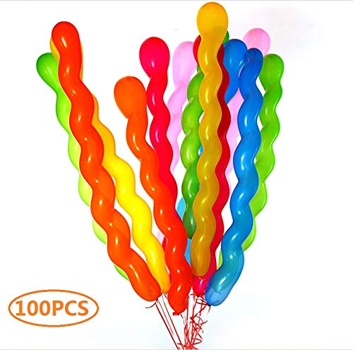 Latex Spiral Balloons 40 Inches, Colorful Unique Twisted Long Balloons for Parties, Birthdays and Events Balloons Decoration - 100 Count]()