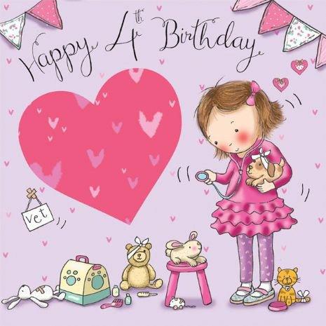 Twizler 4th Di Compleanno Per Ragazza Con Vet Animals Four Year