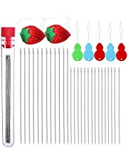 40 PCS Beading Needles, Seed Beads Needles Extra Fine Thin Beading Embroidery Needles Long Straight Beading Thread Needles for Bracelets Jewelry Making with Needle Threaders and Sewing Pin Cushion