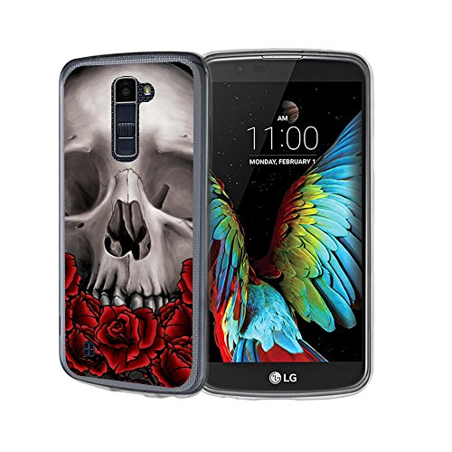 - Untouchble Case for LG Premier LTE Flexible Case | LG K10 Flexible Case [Flex Max] Slim Flexible Gel Case Bump and Drop Protection - Traditional Rose Skull