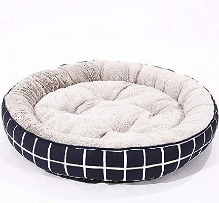 Huichao Cama Redonda para Perros, Cama de Lujo para Perros de Gama Alta, Rayas Azules y Blancas, pequeña, Mediana, Grande,L