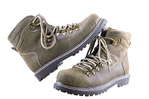 Almwerk Herren Trachten Bergschuh Wanderschuh 102 in braun / olive, Schuhgröße:EU 47 - US 13 - Fußlänge 30.1 cm