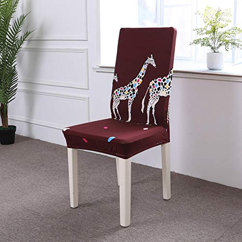 (BERTERI 2PCS Spandex Elastic Dining Chair Covers Removable Anti-Dirty Cute Giraffe Printing Stretch Chair Slicovers for Home Hotel)