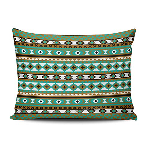 WULIHUA Throw Pillow Covers Tribal Navajo Blanket Pattern Green and Brown Boudoir Outdoor Cushion Cover Pillowcase Size 12x16 Inch One Sided Printed Chic Fashion Design ()