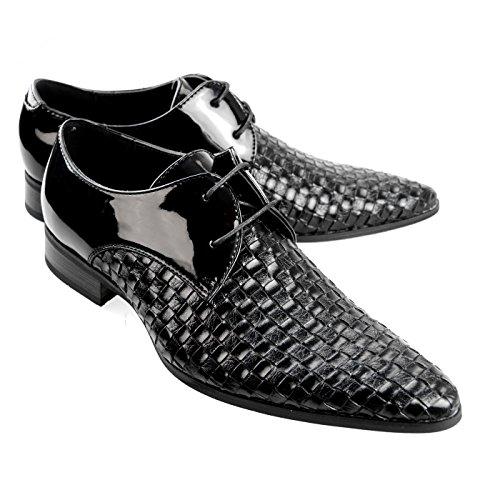 Mm / One Homme Chaussures Oxford Double Bonnet Monkstrap Orteil Émaillé Médaillon Wingtip Noir Brun Blanc Mpt120-2-k Émail Noir