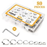 VIGRUE Hose Clamps 80Pieces 304 Stainless Steel Adjustable 8-44mm Range Worm Gear Hose Clamp, Fuel Line Clamp for Plumbing