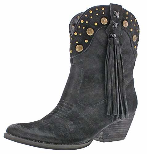 Very Volatile Waddy Women's Western Fringe Ankle Boots Black Size 6.5