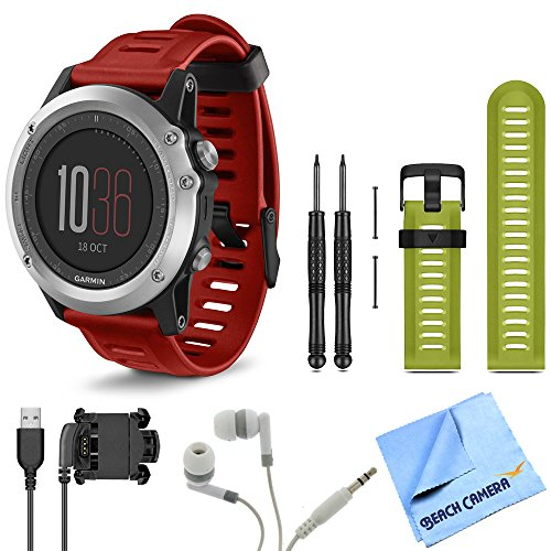 fenix 3 Multisport Training Silver GPS Watch Green Band Bundle includes fenix 3 Silver watch with Red band, green watch band, USB cable, noise isolation headphones and micro fiber cloth