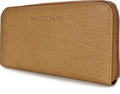 MASQUENADA, Leder Damen Geldbörsen, Börsen, Portemonnaies, Brieftaschen, 19,5 x 9,5 x 2 cm (B x H x T), Farbe:Camel Camel