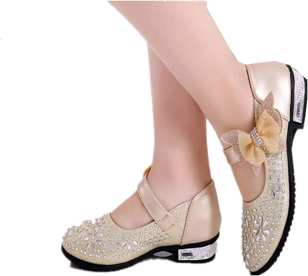 Eava Chan Girls PU Leather Mary Jane Shoes Rhinestone Buckle Strap Ballerina Flat Toddler//Little//Big Girl
