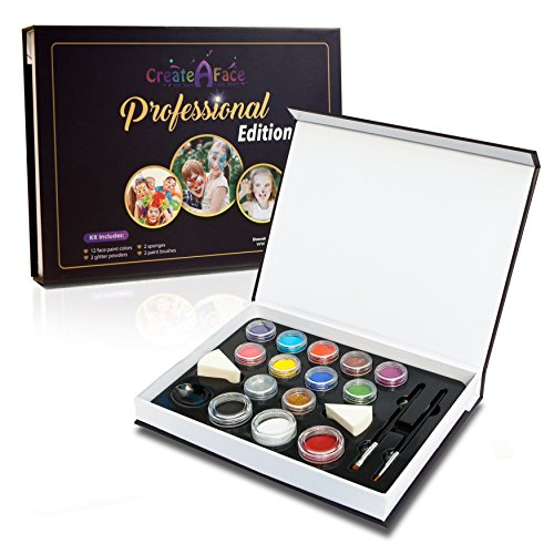 Professional Face Painting Set (Premium Costume Makeup Kit) 12 Vibrant Colors, 2 Shinny Glitters, 2 Handy Triangle Sponges, 2 Professional Brushes - Water Activated - 100% Safe ()