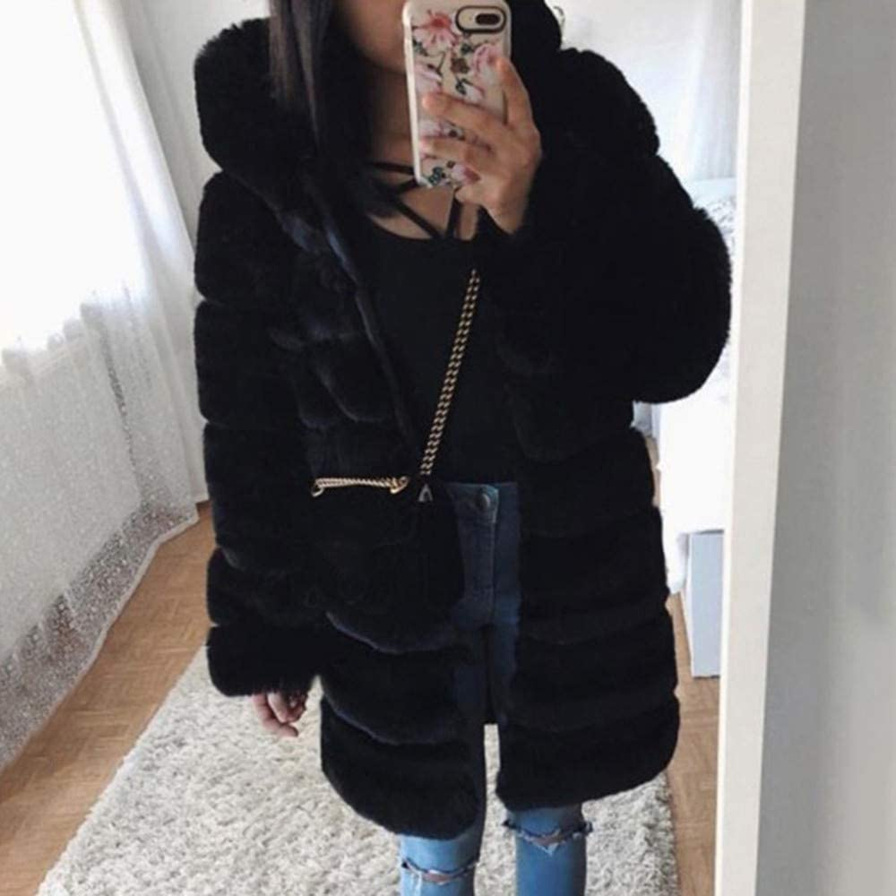 Hunauoo Womens Luxury Faux Fur Coat Autumn Winter Long Sleeve Warm Hooded Overcoat