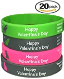 Ch- Valentines Day Silicon Wristbands 20 pcs/Kids Party Favors Kids School Gifts Supplies (Child, Valentine)