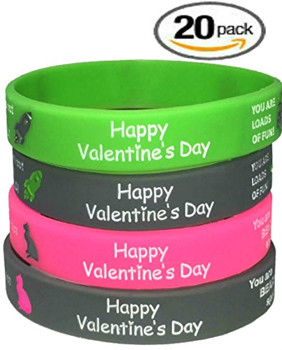Ch- Valentines Day Silicon Wristbands 20 pcs / Kids Party Favors Kids school Gifts supplies (Child, (Valentine Gifts For School Parties)