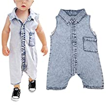 Infant Baby Boys Denim Romper Jumpsuit Sleeveless Overalls Outfit Summer