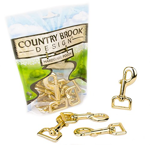 (10 - Country Brook Design | 1 Inch Brass Plated Swivel Snap Hooks)