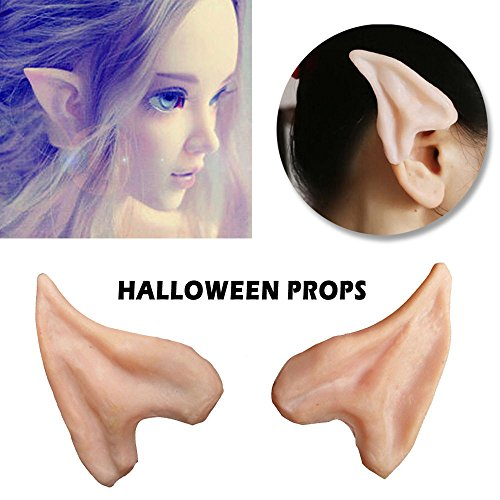 [AYAMAYA Halloween Costume Latex Fairy Pixie Elf Ear Tips Alien Anime Cosplay for Masquerade Party SMALL] (Elf Ears Halloween)