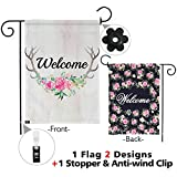 "Snapmade Premium Welcome Garden Flag Deer Antlers Flowers Welcome Yard Flag With 2 Nice Designs Double Sided & Garden Flag Stopper & Anti-wind Clip 12"" x 18"""