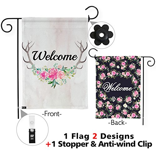 Snapmade Premium Welcome Garden Flag Deer Antlers Flowers Welcome Yard Flag With 2 Nice Designs Double Sided & Garden Flag Stopper & Anti-wind Clip 12