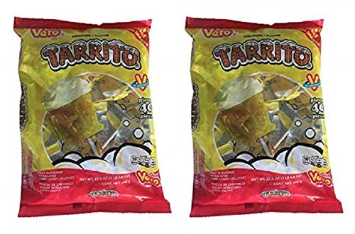Vero Mexican Candy Tarrito Fruit Flavored Lollipops, 40 Count Bag (Pack of 2) (Beer Pops Mexican Candy)
