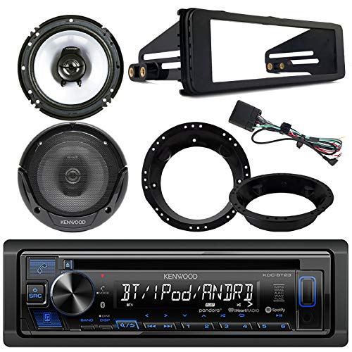 Kenwood KDCBT23 Bluetooth CD Stereo Audio Receiver - Bundle Combo with 2X Kenwood 6.5' Inch Black Coaxial Speakers W/Adapter Brackets + Radio Dash Kit for 1998-2013 Harley Motorcycle Bikes