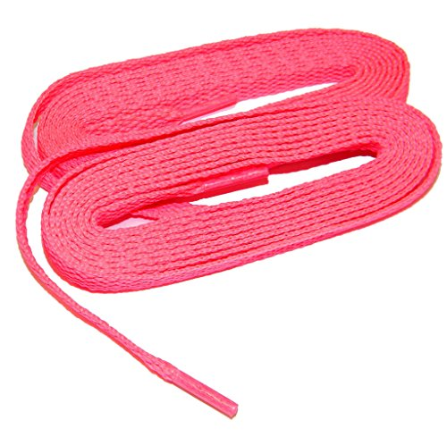 HOT Pink 45 Inch 114 Cm Fashionable Reflective 8mm Flat Woven Safety Athletic Shoelaces - 2 Pair Pack evwW4