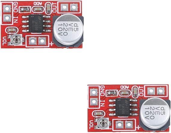 Acxico 2Pcs Micro Electret Amplifier MIC Condenser Mini Microphone Amplifier Board DIY DC 5V-12V