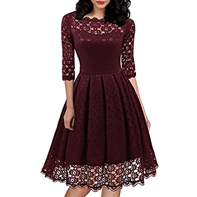 HELYO Women's 1950s Vintage Floral Lace Half Sleeve Cocktail Party Casual Swing Dress 595