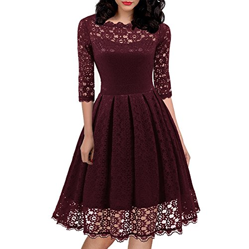 Women#039s 1950s Vintage Floral Lace Half Sleeve Cocktail Party Casual Swing Dress 595