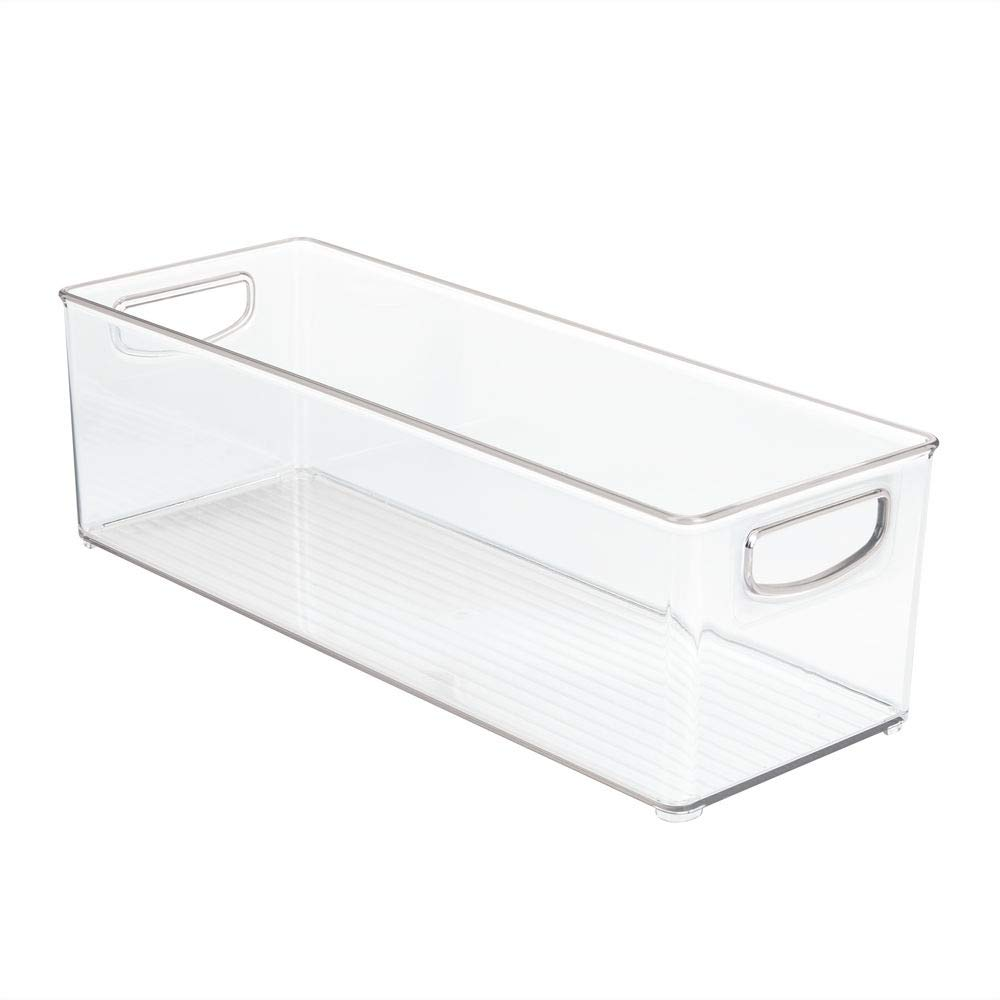 mDesign Large Stackable Plastic Storage Bin Container, Home Office Desk and Drawer Organizer Tote with Handles - Holds Gel Pens, Erasers, Tape, Pens, Pencils, Markers - 16'' Long, 8 Pack - Clear by mDesign (Image #10)