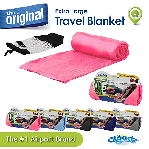 Cloudz Bamboo Travel Blanket with Bag - Light Pink