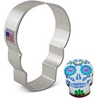 Day of the Dead Dia de los Muertos Skull Cookie Cutter - 3.6 Inches - Ann Clark - US Tin Plated Steel