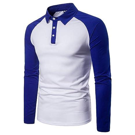 NISHIPANGZI Moda Hombres Camiseta Manga Larga Polo Patchwork Otoño ...