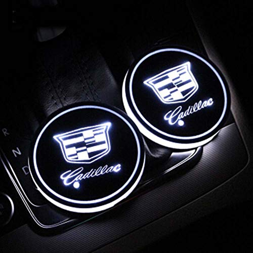 Zhengyong Auto 2PCS LED Car Logo Cup Holder Lights for Cadillac ,Waterproof Bottle Drinks Coaster Built-in Light 7 Colors Changing USB Charging Car Interior Accessories (Cadillac)