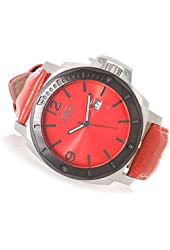New Mens Invicta 18839 Specialty Red Dial Alligator Embossed Strap Watch