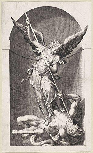 Classic Art Poster - Archangel Michael killing the devil, anonymous, 1560 - 1678