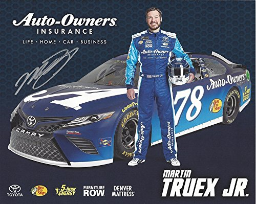 AUTOGRAPHED 2018 Martin Truex Jr. #78 Auto-Owners Insurance Team (Furniture Row Racing) Monster Energy Cup Series Picture 8X10 Inch Signed NASCAR Collectible Hero Card Photo with COA