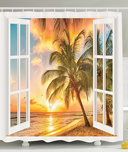 Personalized Decor Sea Ocean for Bathroom Decorations Palm Tree Sunset Scenery Scenic Shower Curtain Fabric Beach House Wooden Windows of Art Pictures Natural Landscape, Brown White Yellow Blue Green (House Curtains Beach)