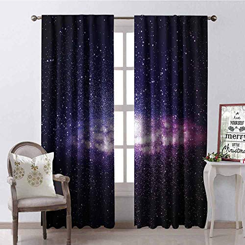 Gloria Johnson Galaxy 99% Blackout Curtains Nebula Cloud in Milky Way Infinity in Interstellar Solar System Design Print for Bedroom Kindergarten Living Room W100 x L84 Inch Purple Dark Blue (Disney Infinity Triple Pack)