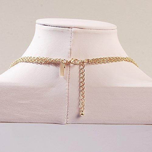 Jane Stone Collier Sautoir Fantaisie Chaine Multi Rangs Camee Rectangle Femme Bijoux Tendance Couleur Orange